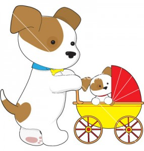 cute-puppy-baby-carriage-vector-421268